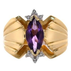 1.00 Ct Amethyst & 0.06 Ct Diamond Ring 14K Gold